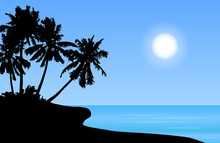 Tropical Island Landscape Vector With Palm Trees And Sun On Blue Shaded Sky.