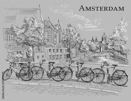 Photo  Bicycles on bridge in Amsterdam, grey