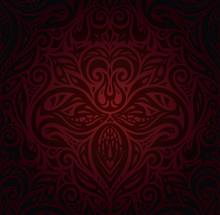 Dark Red Brown Floral Wallpaper Vector Design Background
