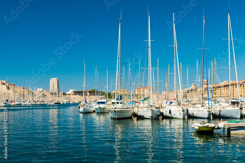 Keuken foto achterwand Schip The Old Port with yachts, Marseille, Provence, France