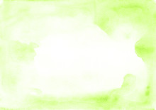 Universal Watercolor Green Frame With Stains Of Paint On A White Paper Texture. Ideal For Text, Layouts, Banners And Advertising.