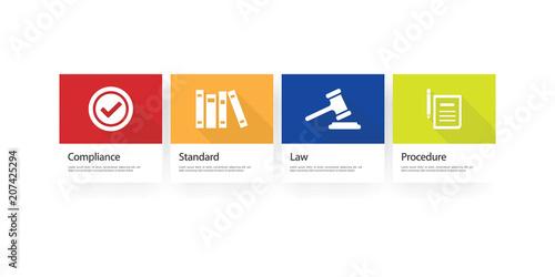 Fotografie, Tablou Regulation Infographic Icon Set