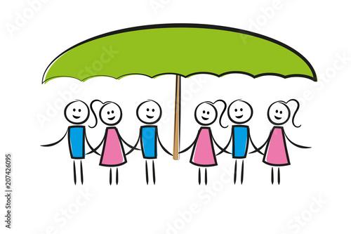 Photo Frauen - Männergruppe unter Schirm - Zusammenhalt