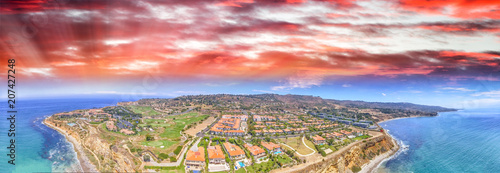 Aerial panoramic view of Rancho Palos Verdes coastline, California