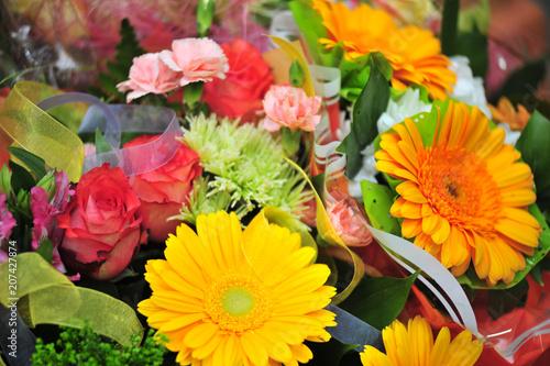 Fotobehang Vlinder bouquet with gerberas