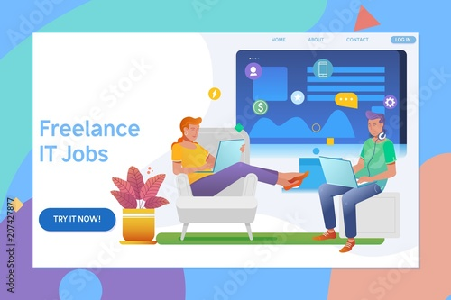 Creative Website Template Design Of Remote Working Freelancer Modern Information Technology People Work In A Team Flat Vector Ilration
