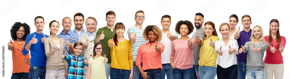 Fototapeta people, diversity and international concept - group of men, women and kid showing thumbs up over white background