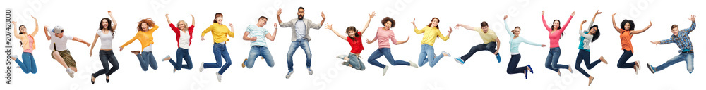 Fototapety, obrazy: happiness, freedom, motion and diversity concept - happy people jumping in air over white background