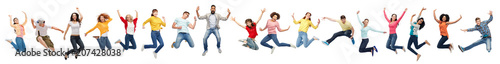 Fotomural happiness, freedom, motion and diversity concept - happy people jumping in air o