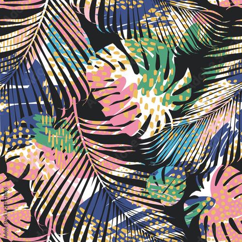 plemienny-bezszwowy-wzor-z-abstrakcjonistycznymi-liscmi-losowanie-reki-szablon-wektor