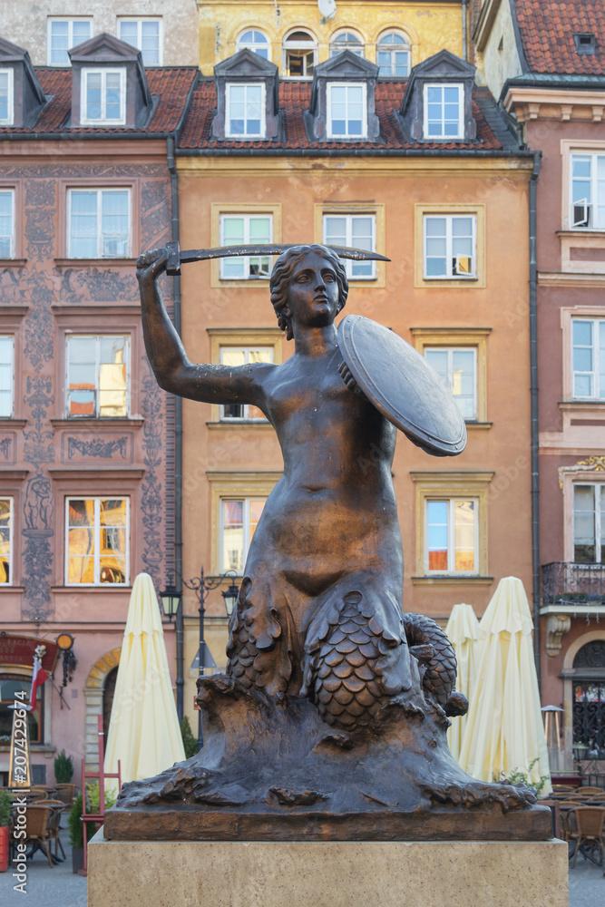 Fototapety, obrazy: Pomnik Syrenki w Warszawie, Rynek Starego Miasta
