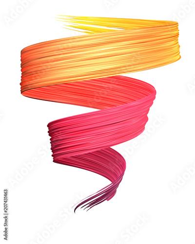 Photo  Pink to yellow 3D brush paint stroke swirl