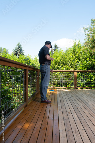Fotografie, Obraz  Deck Staining Project Before and After