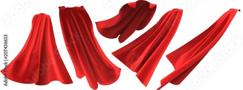 Superhero red cape set on white background