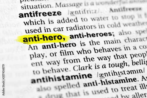 Tablou Canvas Highlighted English word anti hero and its definition in the dictionary