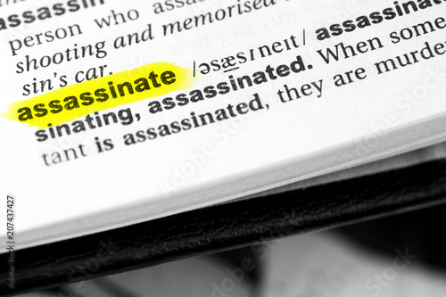 Highlighted English word assassinate and its definition in the dictionary Canvas Print
