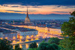 canvas print picture Turin. Aerial cityscape image of Turin, Italy during sunset.