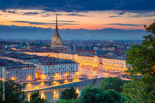 Poster Lieu d Europe Turin. Aerial cityscape image of Turin, Italy during sunset.