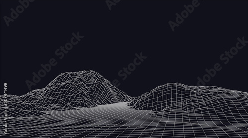 Carta da parati Abstract vector wireframe landscape