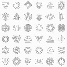 Set Of Geometric Elements, Impossible Shapes, Isolated On White, Line Design, Vector Illustration