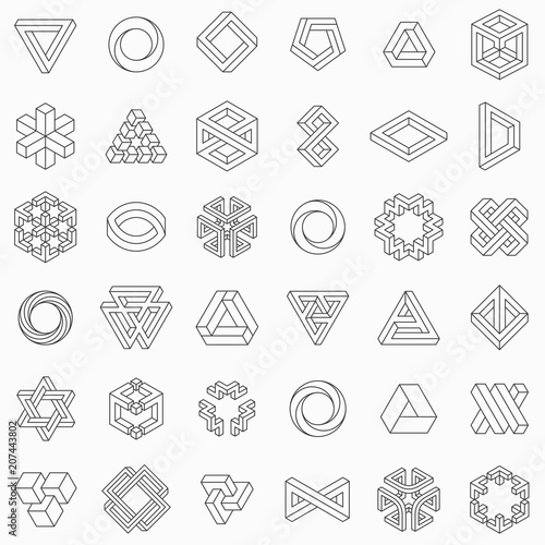 Fotomural Set of geometric elements, impossible shapes, isolated on white, line design, ve