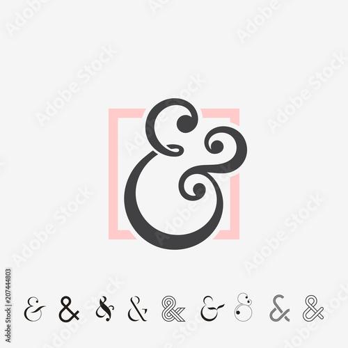 Set of Ampersands, vector illustration Canvas Print