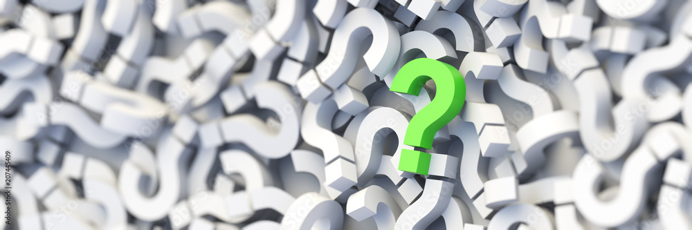 Fototapety, obrazy: Green question mark on a background of white signs. 3D Rendering