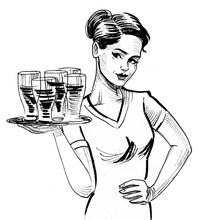 Pretty Waitress With A Beer Glasses On The Tray