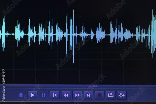 Audio sound wave studio editing Canvas Print
