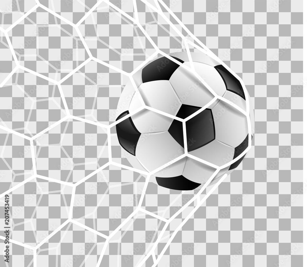 Fototapeta Fußball im Tor Netz isoliert transparenter Hintergrund