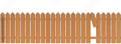 Wooden picket fence with gap in the fence Wallpaper Mural