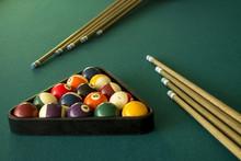 Top View Of Billiard Balls In ...