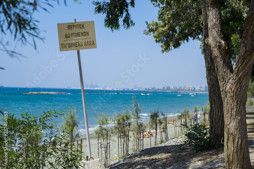 Foto op Canvas Cyprus Cyprus coast with a sign