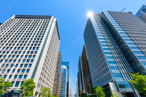 Pinturas sobre lienzo  初夏の高層ビル群 Tokyo city landscape and fresh green in Otemachi Marunouchi