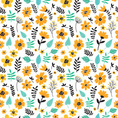 Cute hand drawn floral colorful seamless pattern of yellow flowers. Perfect for scrapbooking, wrapping paper, textile etc. Ditsy print. Vector illustration