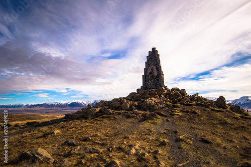 Icelandic countryside - May 08, 2018: Stone memorial in the countryside of Iceland