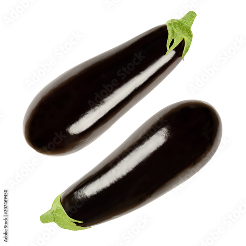 Two eggplants from above. Solanum melongena, also aubergine or brinjal. Nightshade. Elongated oval shaped black skinned fruit, used for cooking. Macro food photo closeup, isolated on white background.