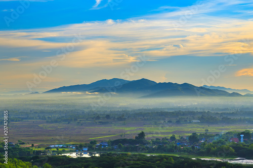 Foto op Canvas Beige mountain landscape and fog