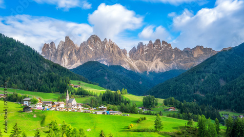 Fotobehang Nachtblauw Santa Maddalena - Dolomites , Italy Landscape