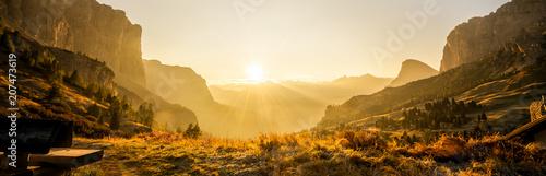Foto  Dolomites, Italy Landscape at Passo Gardena.