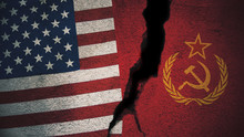 United States Vs Soviet Union Flags On Cracked Wall