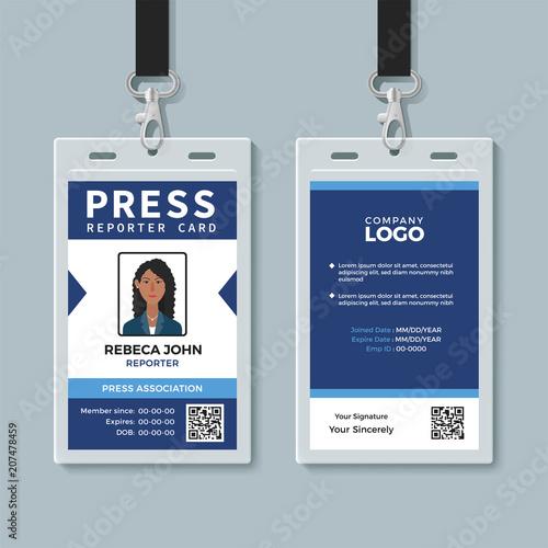 Fotomural  Press reporter ID card template
