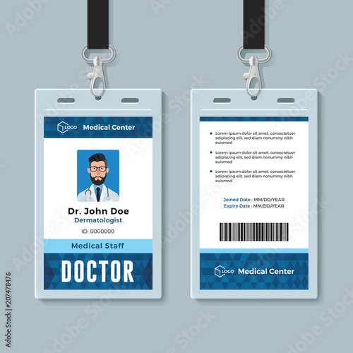 doctor id card medical identity badge design template buy this