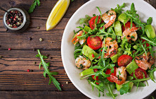 Fresh Salad Bowl With Shrimp, ...