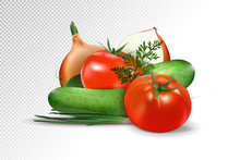 Vegetables - Tomato, A Cucumber And Onions It Is Isolated On A Transparent Background. Realistic Vector, 3d Illustration