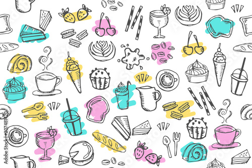 Doodle Food Cafe Bakery Drawing Pattern Seamless On White Background