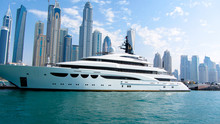 Yacht In Dubai Marina In Front Of High-rise Buildings On 26th November 2016