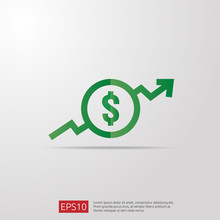 Dollar Increase Icon. Money Sy...