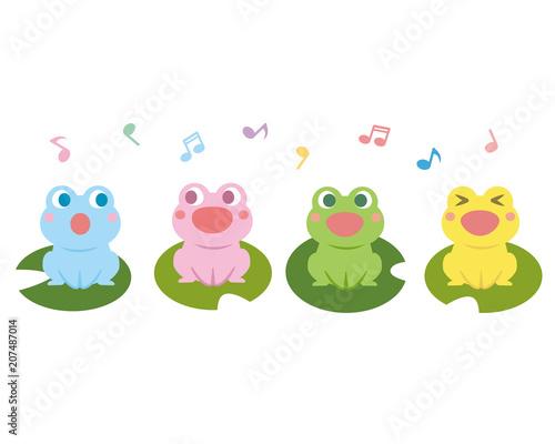 Canvastavla カエルの合唱 イラスト
