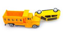 Toy Car Crash Isolate On White Background